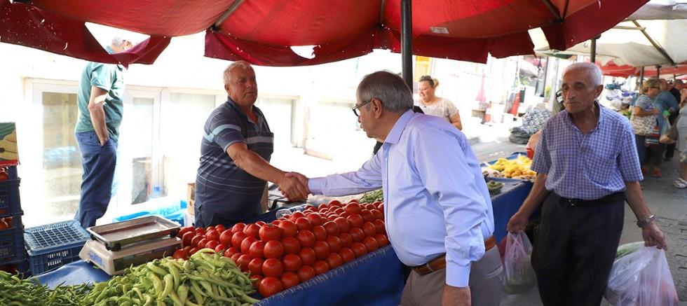 Başkan Özacar'dan Pazarcı Esnafına Ziyaret