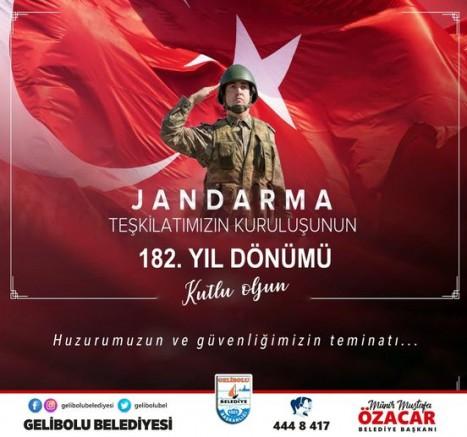 Başkan Özacar'ın Jandarma Teşkilatının 182. Yıldönümü Mesajı